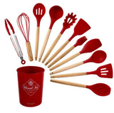 Silicone Cooking Utensils Set Non-stick Spatula Shovel Wooden Handle