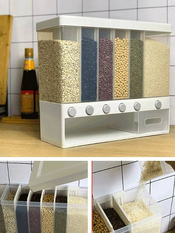 Kitchen Cereal Dispenser Plastic Automatic Racks Sealed Food Storage Box
