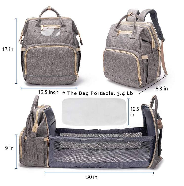 3 in 1 Travel Foldable Baby Bed Diaper Bag Backpack For New Baby