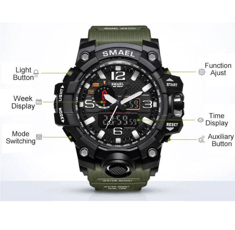 Men Sports Watches Dual Display Analog Digital LED Electronic Quartz Wristwatches