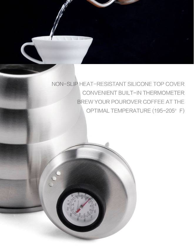 Stainless Steel Tea Coffee Kettle with Thermometer Coffee Pot Kitchen