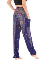 Womens Yoga Pants Blue Printing Lounge Beach