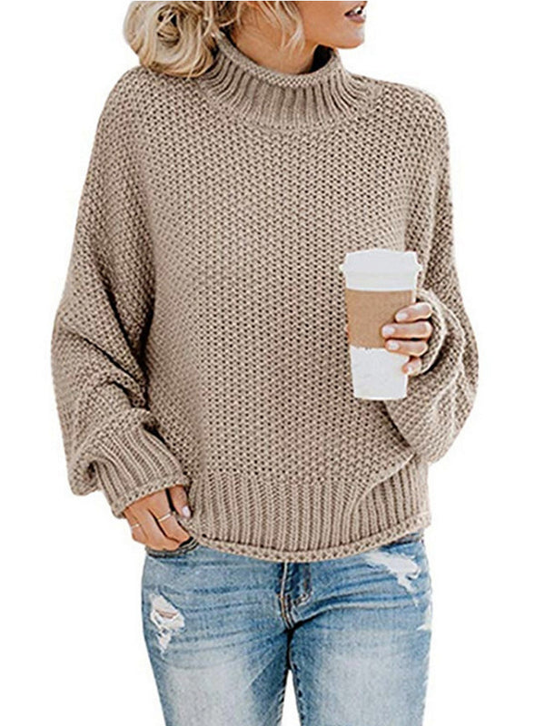 Womens  Sweater Oversized Turtleneck Casual Batwing Long Sleeve Cable Knit Pullover Sweater Jumper