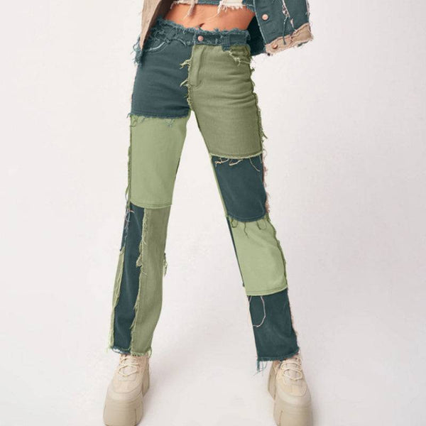 Women's Patchwork Jeans With Pocket Hight Waist Distressed Straight Denim Pants