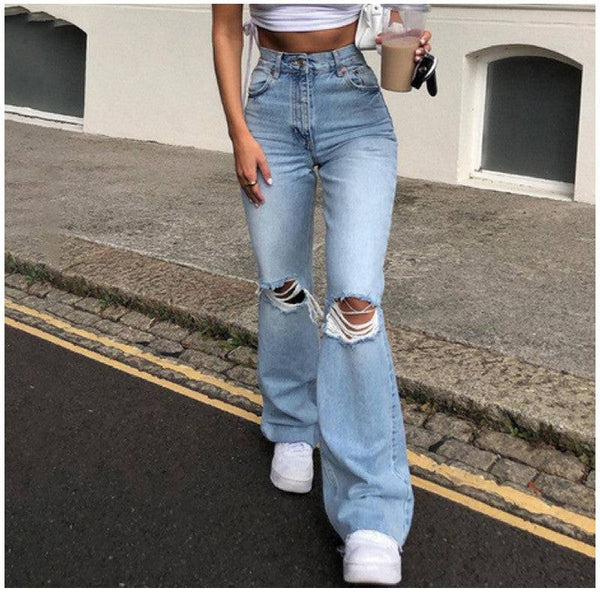 Womens Ripped Off Jeans Distressed Jeans Flare