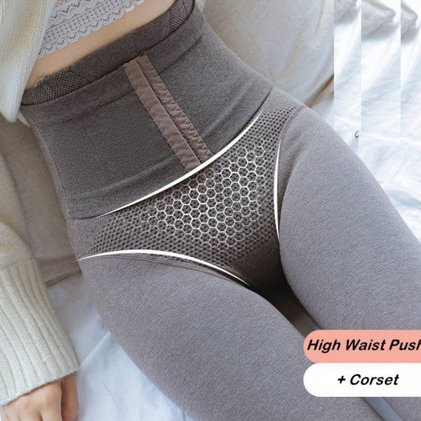 High Waisted Leggings + Corset Winter Thick Cashmere Pantyhose Tight