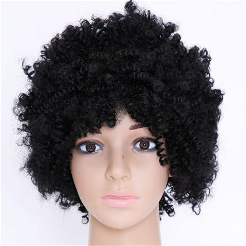 Short Black Women Synthetic Wigs Deep Curly
