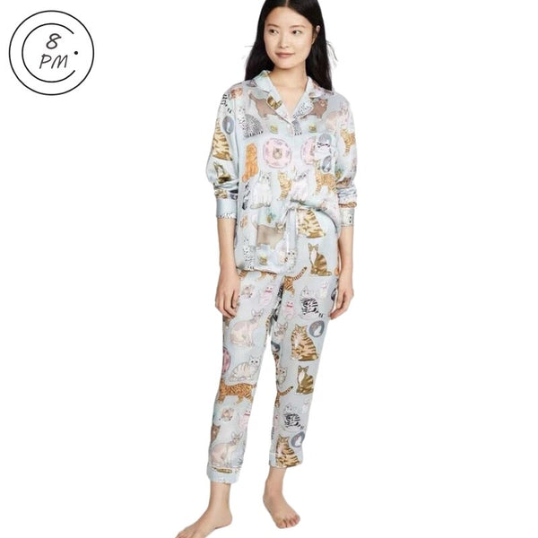 Womens Silk Satin Pajamas Sets Cute Home Wear