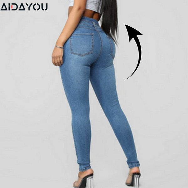 Womens Shaping Body Jeans  Butt High Lifting Ripped Off
