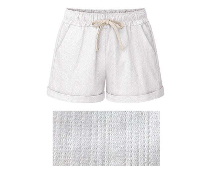 Women Shorts Linen Cotton Pure Fine Linen