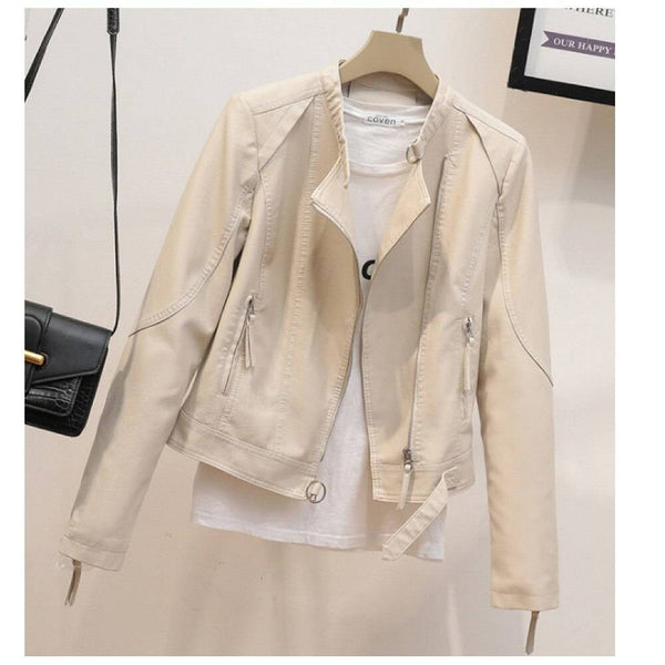 Faux Leather Jacket for Women Spring Moto Outwear Cool