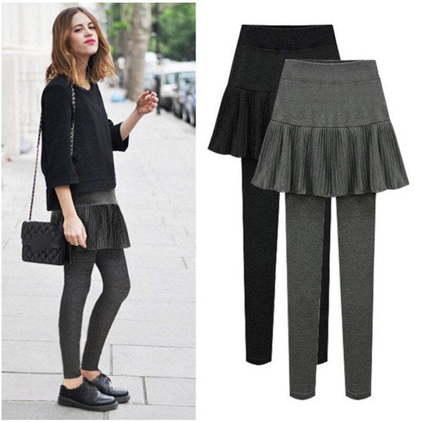 Skirted Leggings for Women Fake Two Pieces Plus Size 4XL 6XL Cotton High Waist  Tennis Pants