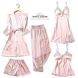 Satin Silk Pajamas Sets Womens Lace