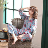 Sleepwear Women Cotton Pajamas Sets Long-Sleeved Trousers Japanese Cute Flower Print Style Lovely Home Wear Long pajamas