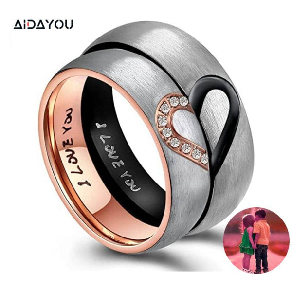 I Love You Rings Heart Promise  Stainless Steel His & Hers Real Couples Wedding Engagement