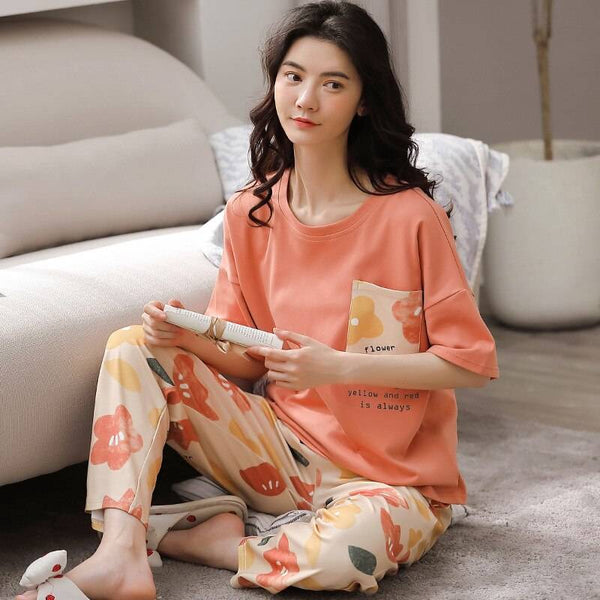 Women's Pure Cotton Pajamas Spring Flower Print