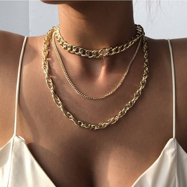 3pcs/set Multi-layers Chunky Chain Necklace Punk hip-hop