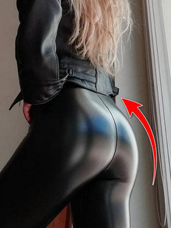Womens High Waist Leggings Push Up Butt Lifing PU Leggings