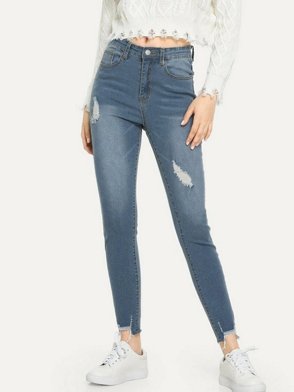 Ripped Jeans Raw Hem Faded Wash Jeans