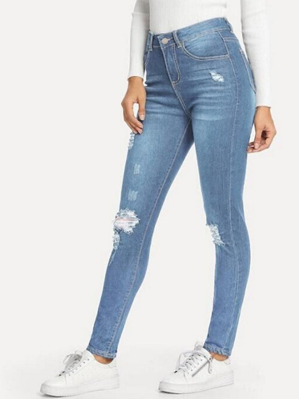 Ripped Jeans Stretchy Elastic Waist Wash