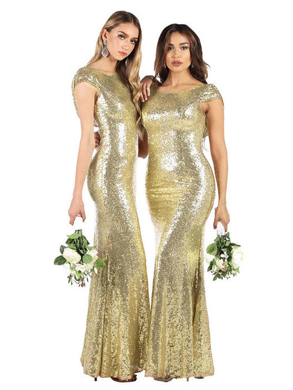 Sequined Long Evening Dress  Banquet Wedding Dress