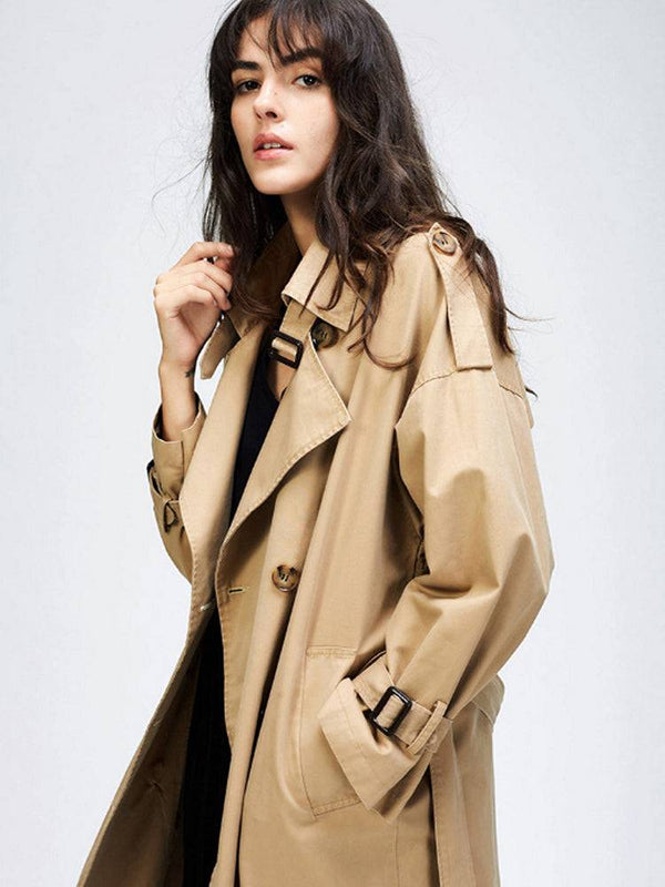 Womens Long Trench Coat Double Line Buttons Cotton Parka