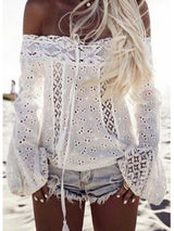 Women Off Shoulder shirt Long Sleeve Lace Loose Blouse Tops
