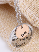 "Two-Tone Sterling ""Be"" Graffiti Charm Necklace Pendants"