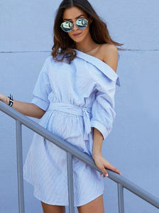 Casual striped dress one-shoulder