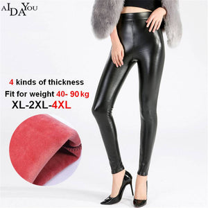 Winter Women fake Leather PU Thick High Waist Elastic Skinny Fleece Leggings Warm Pants Trousers Female big size 4xl ouc1684