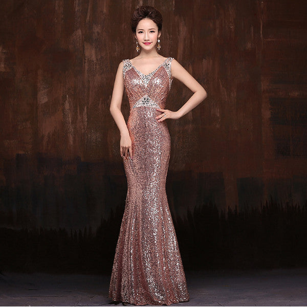 Evening long Dresses Women backless floor length Slim sequined vestido
