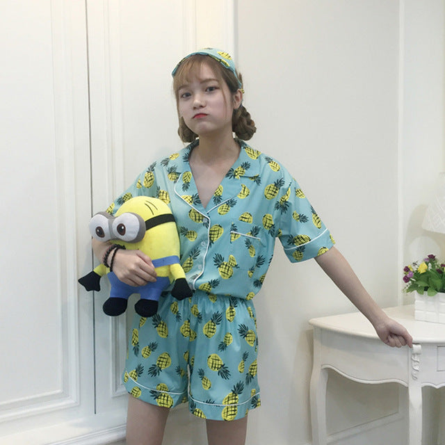 Women Pajamas  Collar Sleepwear 2 Two Piece Set Shirt