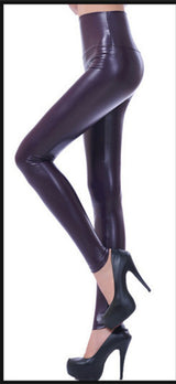 Women's Faux Leather Leggings Black High Waist