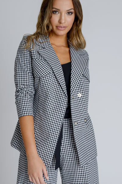 Zalinah White Arlene Gingham Jacket