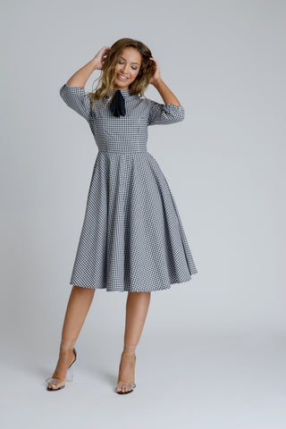 Zalinah White Adele Bias Cut Dress in Black and White Gingham With Neck Bow