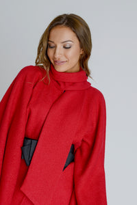 Zalinah White Alyona Wool Manteau Cape Coat (Co Ord) in Classic Red With Belt