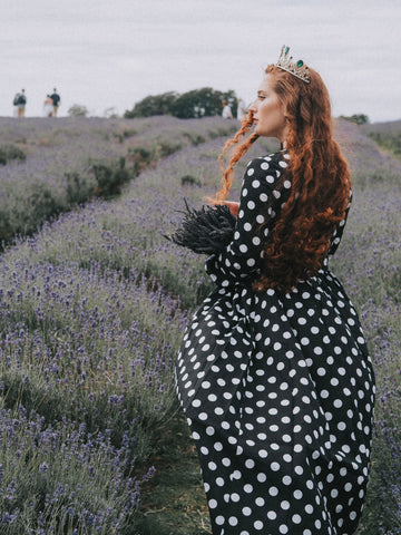 Polka Dot Modest Maxi With Long Sleeves - Zalinah White in the Mayfield Lavender Fields