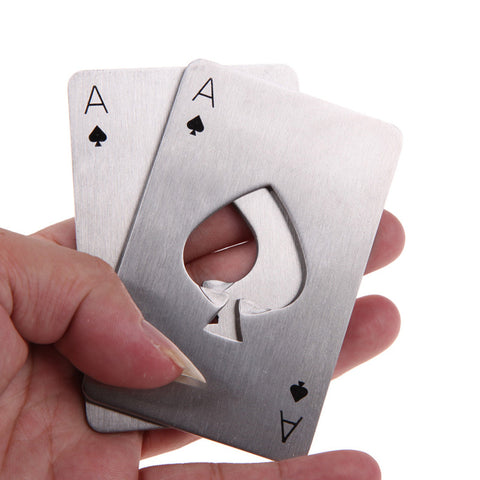 Stainless Steel Poker Playing Card Bottle Cap Opener - realmanscave
