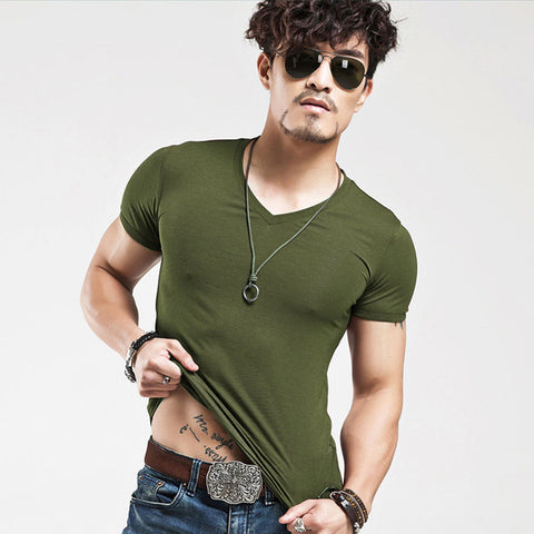 10 colors elastic V neck Men T Shirt - realmanscave