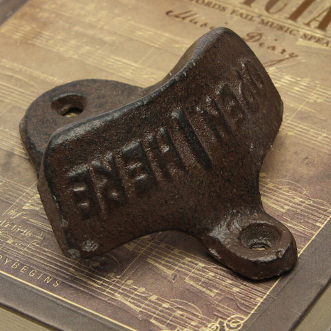 Vintage Antique Iron Wall Mounted Cap Opener - realmanscave