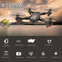 XS809 2.4GHz 4CH 6-axis Gyro Pocket Mini Selfie Foldable Drone RC Drone Quadcopter WiFi FPV 0.3 MP Camera Altitude Hold RTF - realmanscave