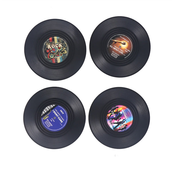 Vintage Vinyl Record Drinks Coasters - 4pc