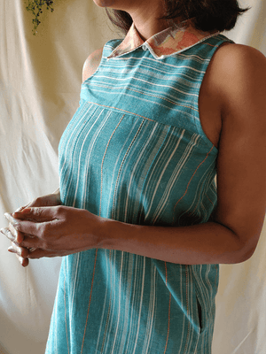 Aqua Collared Dress - WhySoBlue