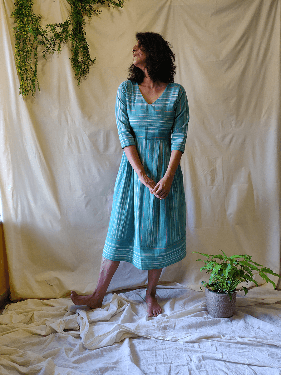 Aqua Pleated Dress - WhySoBlue