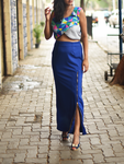 Blue stretch skirt with zipper