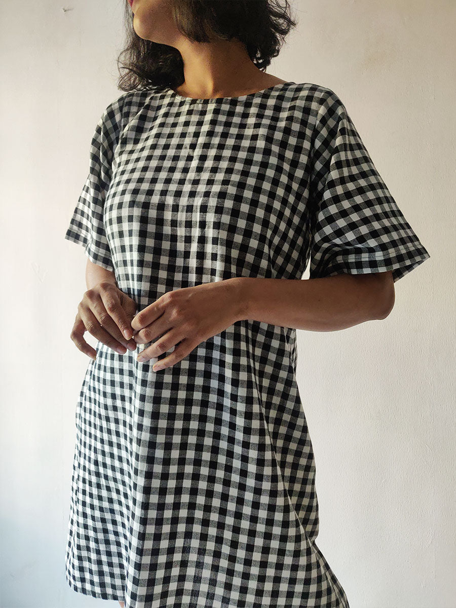 Checkered Tie-back Dress