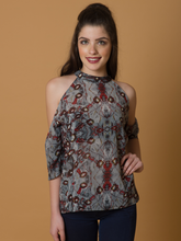 Cold Shoulder Printed Top - WhySoBlue