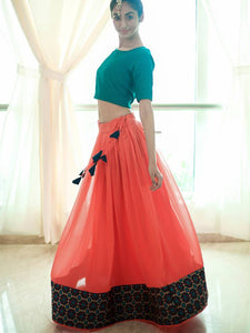 Coral and Green Lehenga Set - WhySoBlue
