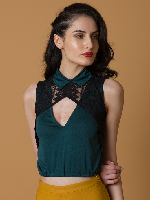 Green collared Cut out top with lace - WhySoBlue