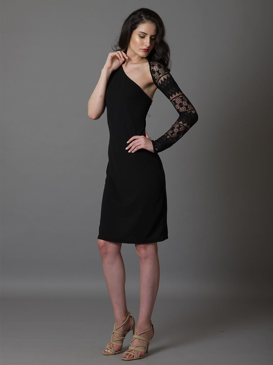 Lace Sleeved Cocktail Dress - WhySoBlue